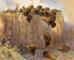 """Foto 3. Recreación de un """"buffalo cliff over"""" en el medio oeste americano"""